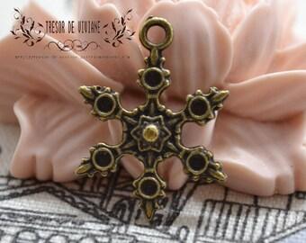 Set of 10 QZW045 charms, Bronze, snowflake, snow
