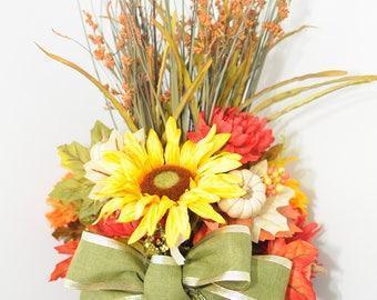 faux flower arrangement, flower arrangement, Fall Floral home Decor, Fall Decor, Pumpkin Floral arrangement, centrepiece arrangements