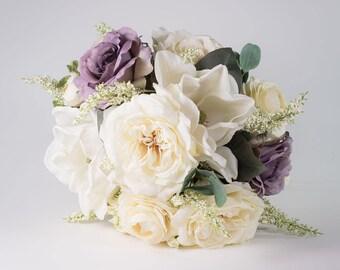 Garden rose bouquet, Wedding bouquet, Bridal bouquet, rose wedding bouquet, silk wedding bouquet, Silk bridal bouquet