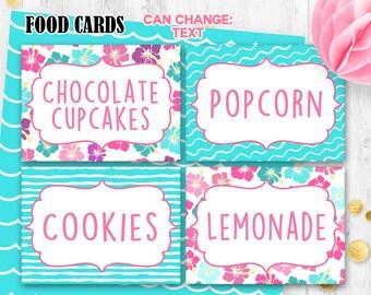 Luau Food cards Luau Food tents Hawaii Place cards Printable digital table cards