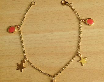Anklet with star and coral enamel pendant
