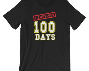 Unisex I Survived 100 Days of School t-shirt grammar school great gift school calendar celebration special day education teachers students