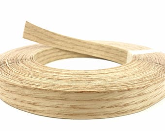 "Red Oak Wood Veneer Edge Banding Unfinished Preglued Roll Width 3/4"" 13/16"" 7/8"" 2"" X Length 50' 250'"