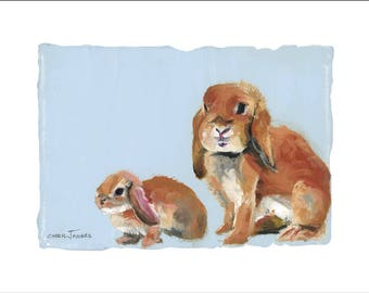 "Emmy's Bunnies, Ruby & Claire, 10x8"" Fine Art Print, Limited Edition, Hand Numbered and Signed, Giclee, Nursery Art"