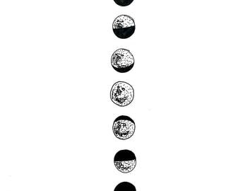 Minimal Phases of the Moon Ink Drawing