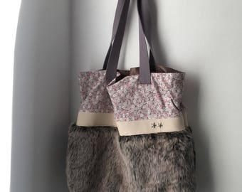 Tote for fur and cotton worn shoulder