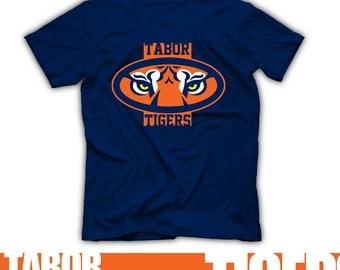 Tiger Pride. junior High School Spirit Wear Tshirt Georgia Tabor Tigers Coach Gear Blue Orange White Legacy Gear Pep Rally Tabor Alumni