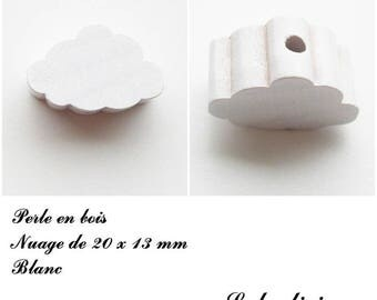 20 x 13 mm wood bead, Pearl flat cloud: white