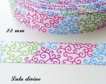 Pink Arabesque white grosgrain Ribbon purple green & turquoise 22 mm sold by 50 cm