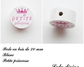 20 mm wooden bead, Pearl flat, little Princess: white