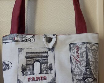 Off white, gray, red tote bag