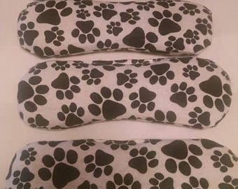paw prints flannel flax and lavender eye pillow