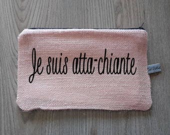 Powder Pink burlap clutch humorous or personalized