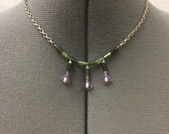 Amethyst lily necklace, One of a kind, handmade,