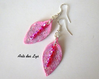 Earrings 'Pink sheets' polymer clay, Swarovski Crystal, Sterling Silver hooks