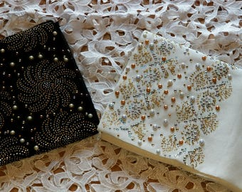 Luxury Aso Oke Gele / headwrap/ headgear/beaded stone and many pearls with many glitters