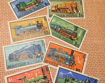 8 Train Postage Stamps for crafting / Travel Theme Scrapbooking