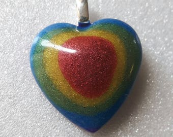 Rainbow Heart Breastmilk Pendant with Sterling Silver Bail