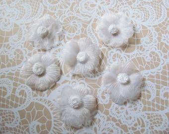 SET of 6 flower ORGANZA white seam 4.5 cm TASSELS