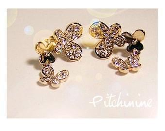 Earrings gold filled & swarovski crystals 3 butterflies