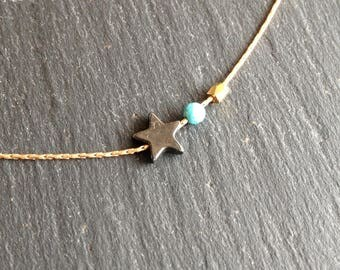 fine necklace star hematite and turquoise