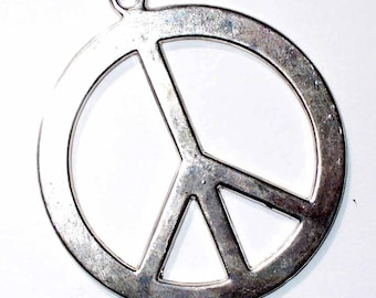 1 charm Peace and love silver 30 mm MB66