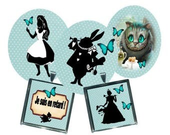 Envoi gratuit ! Images digitales Alice, ovales et carrés, cheshire et alice aux pays des merveilles