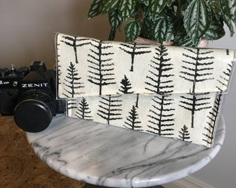 Pine Tree Silhouette- Linoprinted Clutch