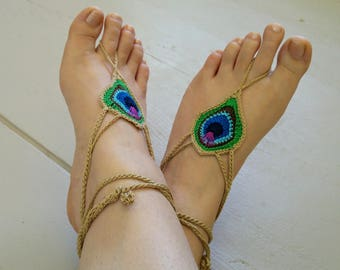 Barefoot sandals, foot jewelry, Peacock feather