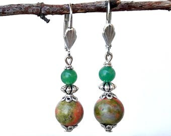 Retro style unakite and aventurine earrings