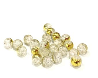 ❤ X 10 glass beads Crackle bicolor 6mm transparent gold ❤