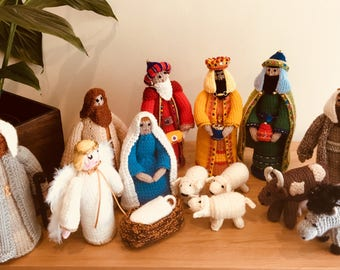 Luxury Embellished Hand Knitted Nativity Set - 14 Pieces