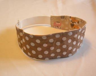 "headband (headscarf, headband) girl ""Fox and polka dots"" reversible taupe Brown"