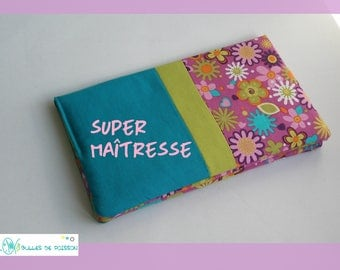 "teacher gift, checkbook wallet ""flowers"""