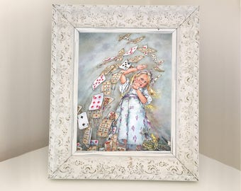 Alice in Wonderland Grown Large in Shower of Playing Cards. Vintage Illustration from Book. Gift for Daughter or Granddaughter Bedroom