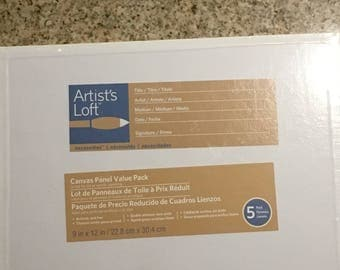 """Canvas Panel Value Pack by Artist's Loft - 5 pack - 9 in x 12 in x 1/8"""" thick"""