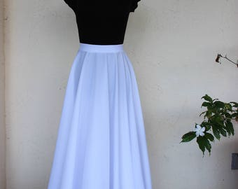 Costumized White Floor-Length Circle Skirt