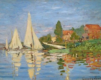 PLACEMAT semi-rigid ORIGINAL AESTHETIC WASHABLE and durable - Claude Monet - regatta at Argenteuil.