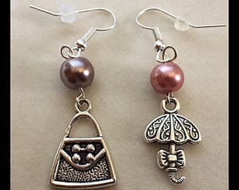 "Mismatched earrings ""purse and umbrella"""