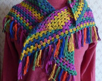 Multicolor shawlette crocheted in cotton blend