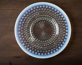 Vintage Anchor Hocking Moonstone Clear Opalescent Luncheon Plate