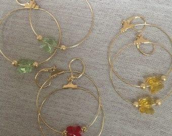 Hoop earrings with butterfly