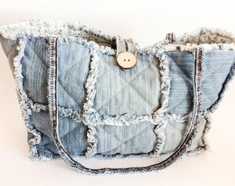 Recycled denim rag bag/ patchwork bag/ denim tote/ jeans bag/ recycled denim tote/ denim bag/ environmental friendly denim bag/ gift