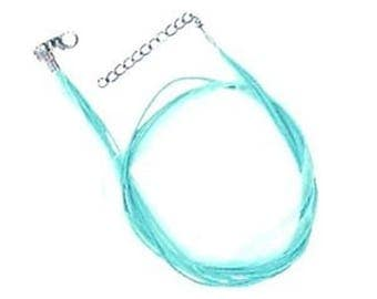 5 x Silk & Cotton Cord Necklace - Aqua- C0196
