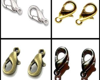 30 Pcs 10mm / 12mm / 14mm Metal Lobster Clasps - Various Colour