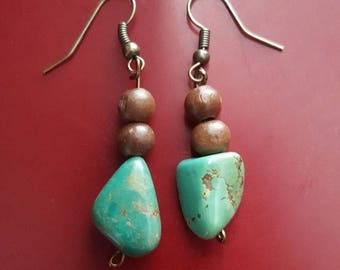 Turquoise and wood beads