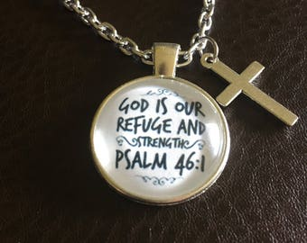 Bible Verse glass round Pendant Necklace, Psalm, silver or bronze, customize,scripture