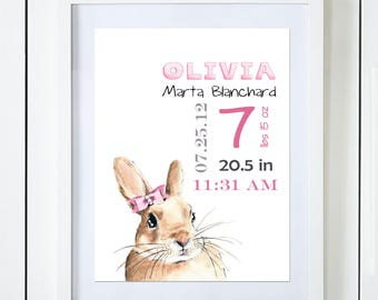 Pink or Purple Bunny Birth Announcement Baby Stats Watercolor Art Print