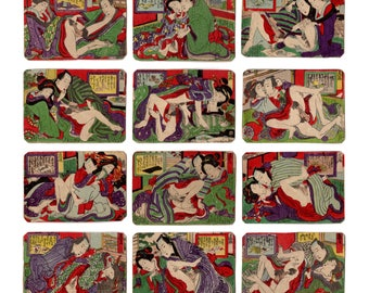 Joyous Competition (Unknown author) N.12 shunga woodblock prints