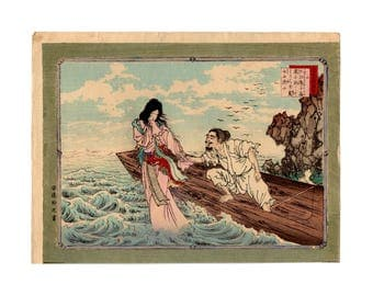 The fisherman and the soul (Adachi Ginko) N.1 ukiyo-e woodblock print